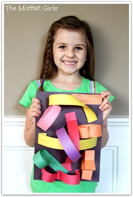 An Easy 3-D Art Project!  You just need construction paper, glue and scissors!   Fun for all ages!
