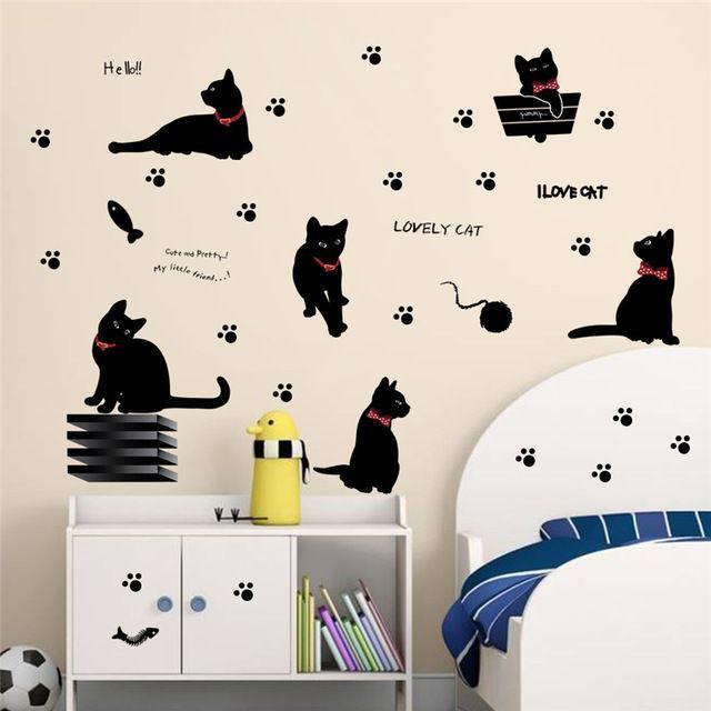 Belle jouer chats animaux stickers muraux enfants décoration de la chambre 843. accueil stickers chaton impression papier peint art de bande dessinée bricolage affiche 4.0