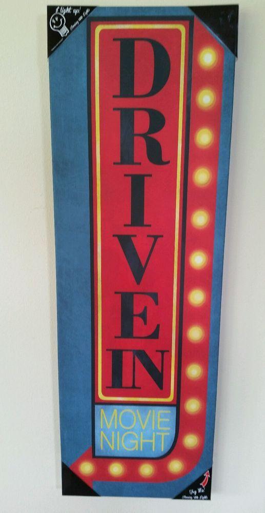 "Vintage Retro Movie ""DRIVE IN "" Theater Popcorn LED Unique Wall Decor W/Lights"