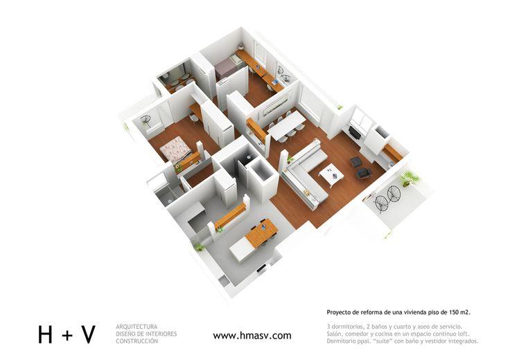 Alfonso XIII. Reforma integral de vivenda piso en Alberto Alccocer, Madrid centro. - H + V