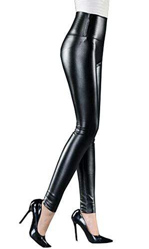 d72b1a53c4 Cayuan Leggins de PU Cuero Mujeres Cintura Alta Delgados Elástico Pantalón  Sexy Imitación Cuero Pantalones