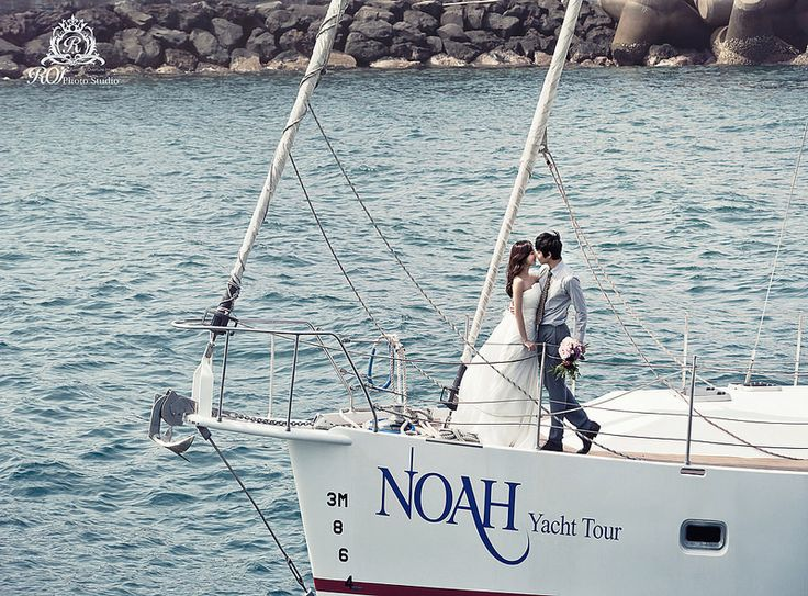 beautiful pictures of couple on the yacht, in Jeju island! by roi studio. #roistudio #Jeju #wedding #Koreawedding #weddingdress