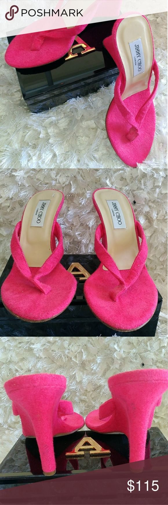 Hot Pink Jimmy Choo Wedge Thong Sandals Hot pink Jimmy Choo sandals with wedge heel. Summery, sassy and perfect for your summer excursions.   Jimmy Choo terry cloth wedges 38. Great, shape,  almost new.   Size:?8 Jimmy Choo Shoes