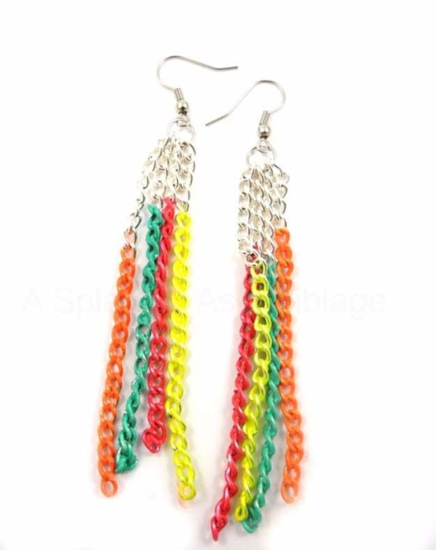 DIY Crafts Using Nail Polish - Fun, Cool, Easy and Cheap Craft Ideas for Girls, Teens, Tweens and Adults | Homemade DIY Neon Chain Earrings