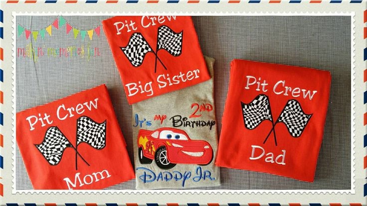 Pit Crew, family birthday Lightning McQueen birthday shirt. Disney Cars birthday theme shirt, red short sleeve by MakinMemoriesFun on Etsy https://www.etsy.com/listing/467068918/pit-crew-family-birthday-lightning