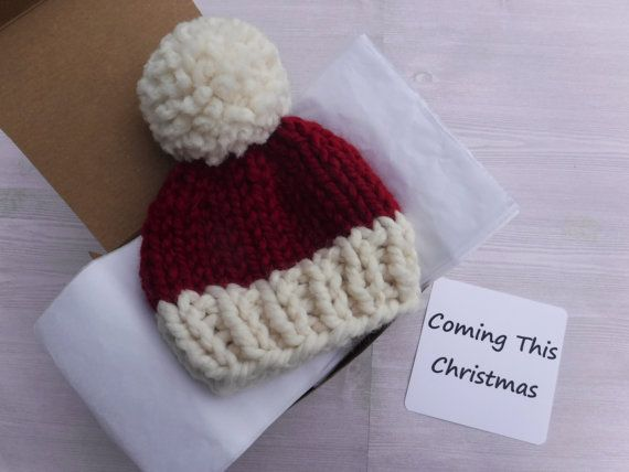 A cute way to announce your pregnancy / baby news to grandparents, husband, friends. Gender reveal. December Christmas baby. Hat in a box knit announcement