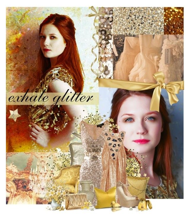 """""""[The Brit Chicks Challenge] 9. Bonnie Wright"""" by ruh-dias ❤ liked on Polyvore featuring Anya Hindmarch, Jenny Packham, Twenty, Missoni, Eda, Lipsy, Miu Miu, sequins, sequined dresses and gold"""