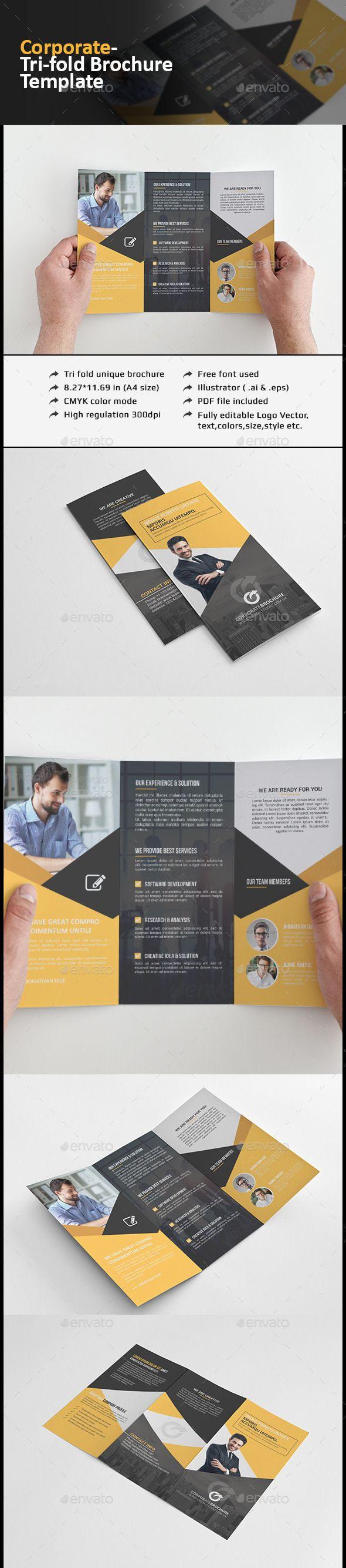 Corporate Tri-fold Brochure-Multipurpose Template #printdesign #design Download: http://graphicriver.net/item/corporate-trifold-brochuremultipurpose/12077960?ref=ksioks