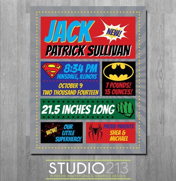 SUPERHERO Baby Birth Announcement Baby Artwork by Studio213Designs