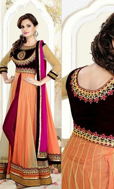USD 120.12 Monica Bedi Orange Resham Work Designer Floor Length Suit