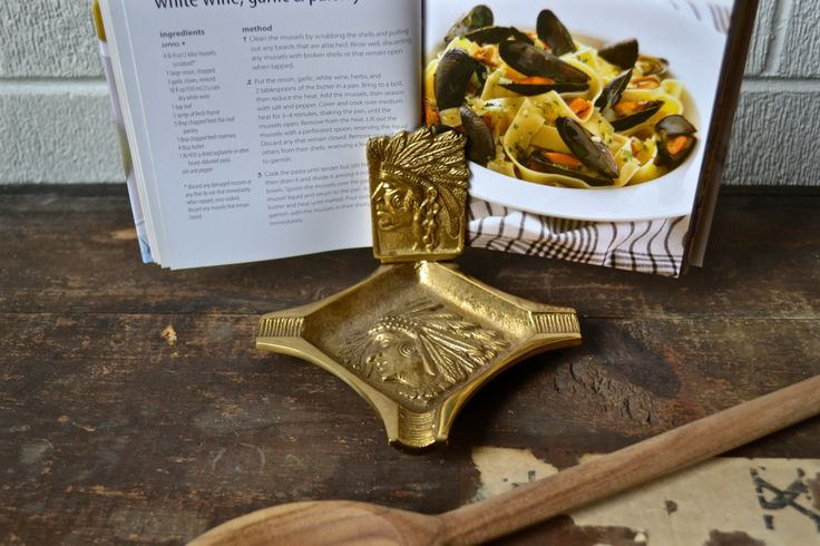 Antique Victorian Native American Chief Brass ash tray turned recipe book holder and spoon tray/spoon holder/spoon rest/kitchen decor by charlestonandco on Etsy