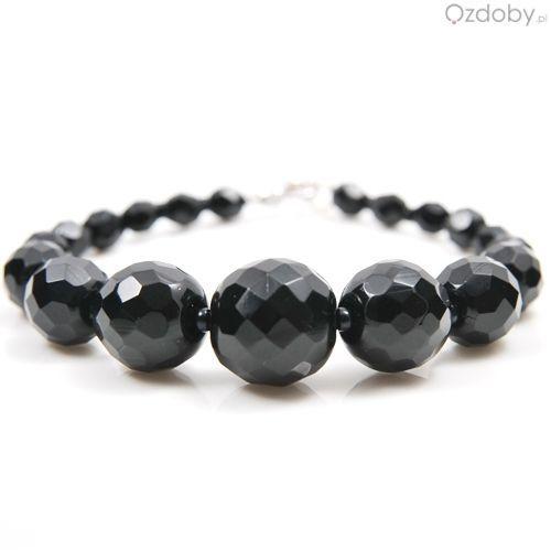 Przepiękna bransoletka wykonana z naturalnego czarnego onyksu, szlif diamentowy-fasetowany.