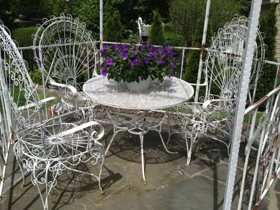 1970u0027s, White, Wrought Iron, Twisted Wire, Victorian Style Patio Set. French  PatioGarden FurnitureOutdoor ...