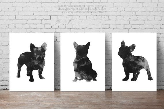 French Bulldog art print Set of 3 Dog Silhouettes. 3 Unique Posters of my authorship. Black Frenchie Illustrations. Three art prints Set men women gift ideas. The price is for the set of three French Bulldog Art Prints as shown on photos. Type of paper: Prints up to (42x29,7cm) 11x16 inch size are printed on Archival Acid Free 270g/m2 White Watercolor Fine Art Paper and retains the look of original painting. Larger prints are printed on 200g/m2 White Semi-Glossy Poster Paper. Colo...