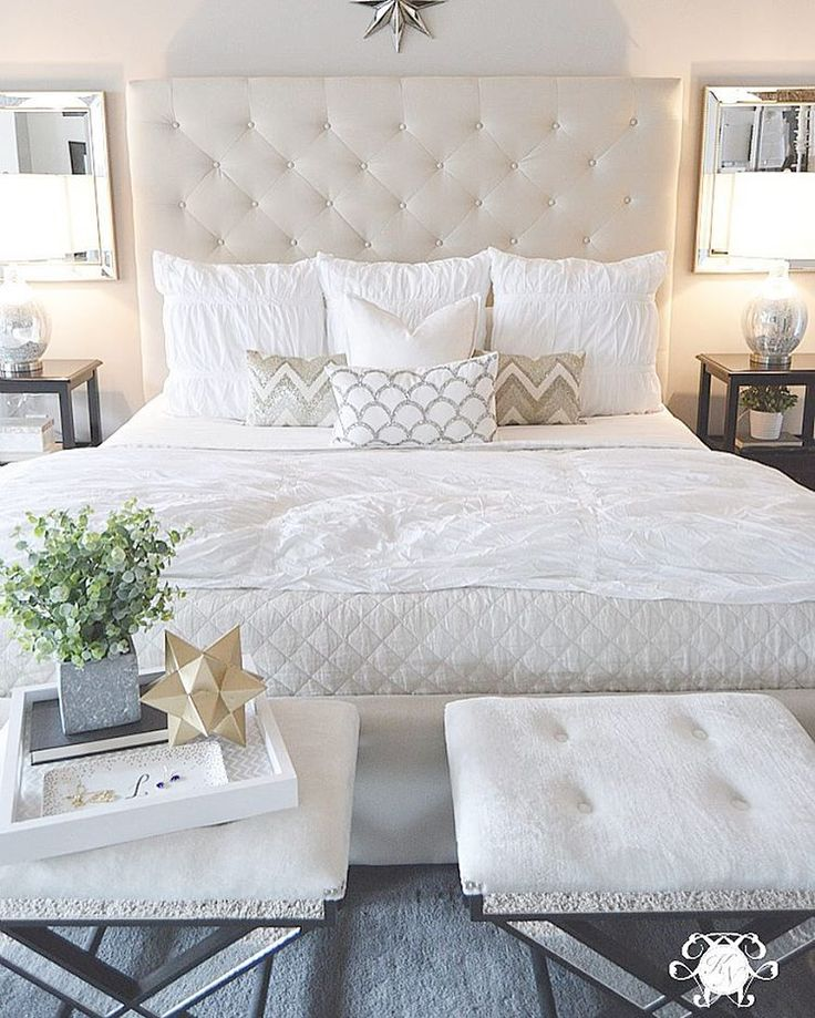 Kelley Nan: Master Bedroom Update  Calming White And Neutral Master Bedroom  With Tufted Ottoman Stools, Pottery Barn Tall Lorraine Headboard, Diamond  Linen ... Part 23