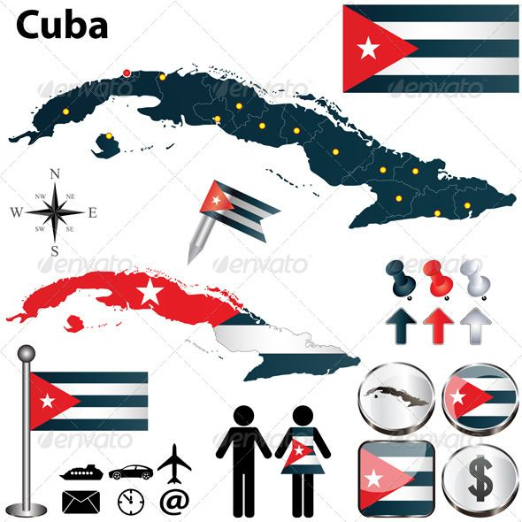 Map of Cuba #GraphicRiver Vector of Cuba set with detailed country shape with region borders, flags and icons. Package contains: EPS (10 version), JPG (5000×5000 pixels, RGB).
