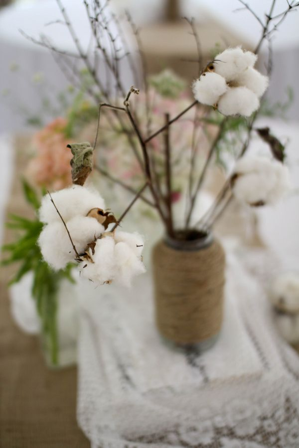 17 best images about cotton wedding bouquets on pinterest for Decoraciones rusticas para el hogar