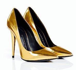 Złote, klasyczne szpilki Giuseppe Zanotti