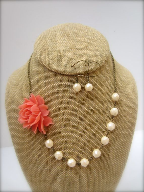 Coral Pink Necklace Coral Jewelry Flower Necklace by kbjhandmade, $34.00