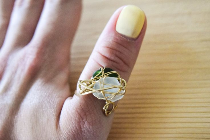 SUMMER SALE! Double genuine greek green and frosted white sea  glass, gold brass wire, summer ring, beach ring, statement ring, boho ring by Christinasfamily on Etsy