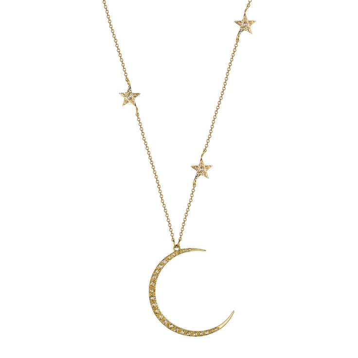The moon and star are ancient celestial symbols representing the gods & goddesses of the sky. Featuring a recycled 18K gold crescent moon pendant illuminate