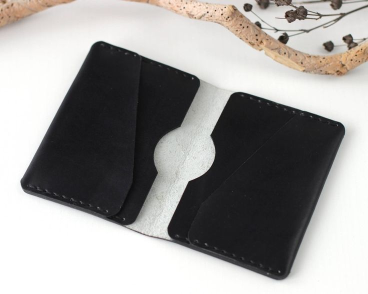 Black leather card wallet card holder leather travel wallet leather business card holder travel accessories card holder wallet small wallet by KodamaLife on Etsy