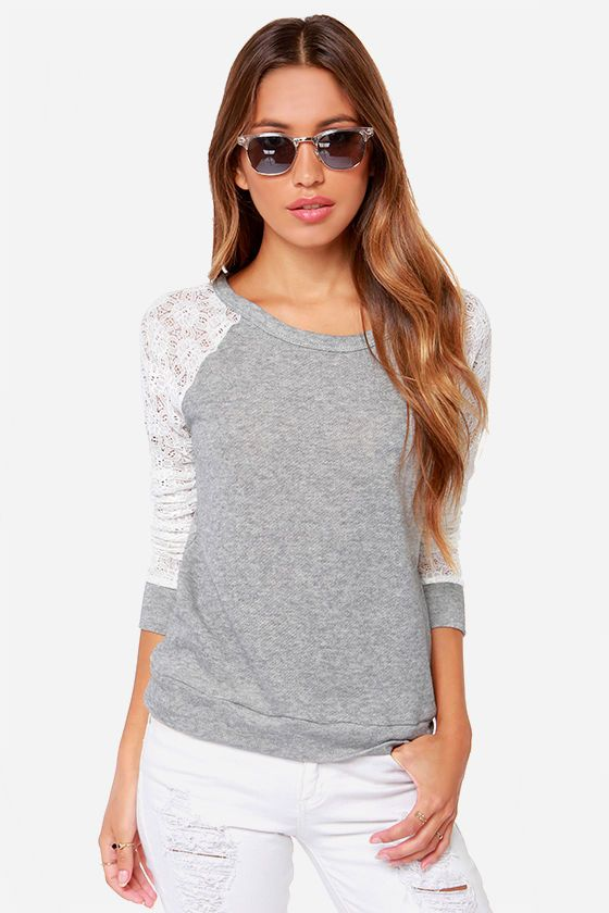 Louisville Hugger Heather Grey and Ivory Sweater Top at LuLus.com! - I finally caved and bought this. Love it!