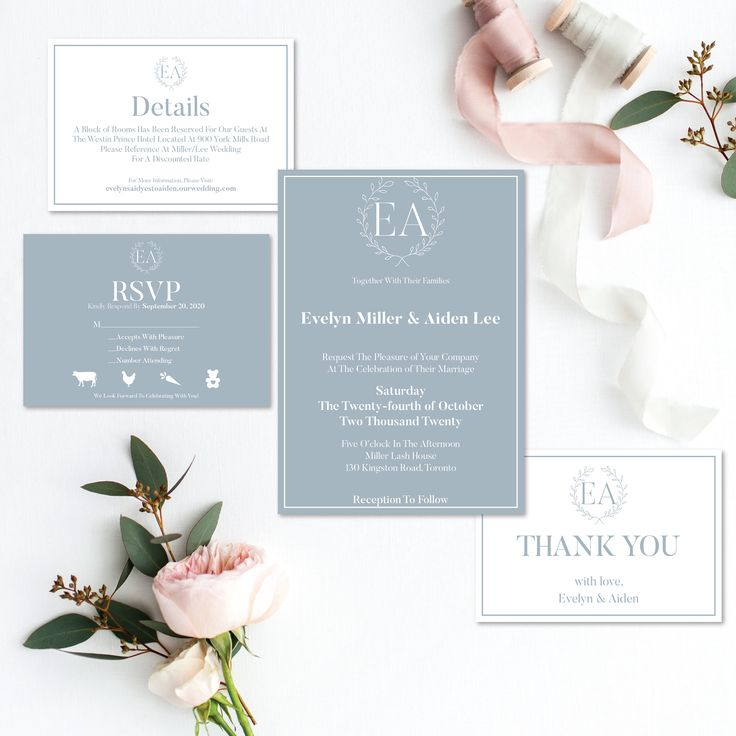 Dusty Blue Wedding Invitation Printable Stationery Floral