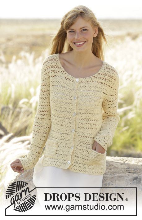 "Daniella - Crochet DROPS jacket with pockets, worked top down in ""Alpaca"". Size: S - XXXL. - Free pattern by DROPS Design"