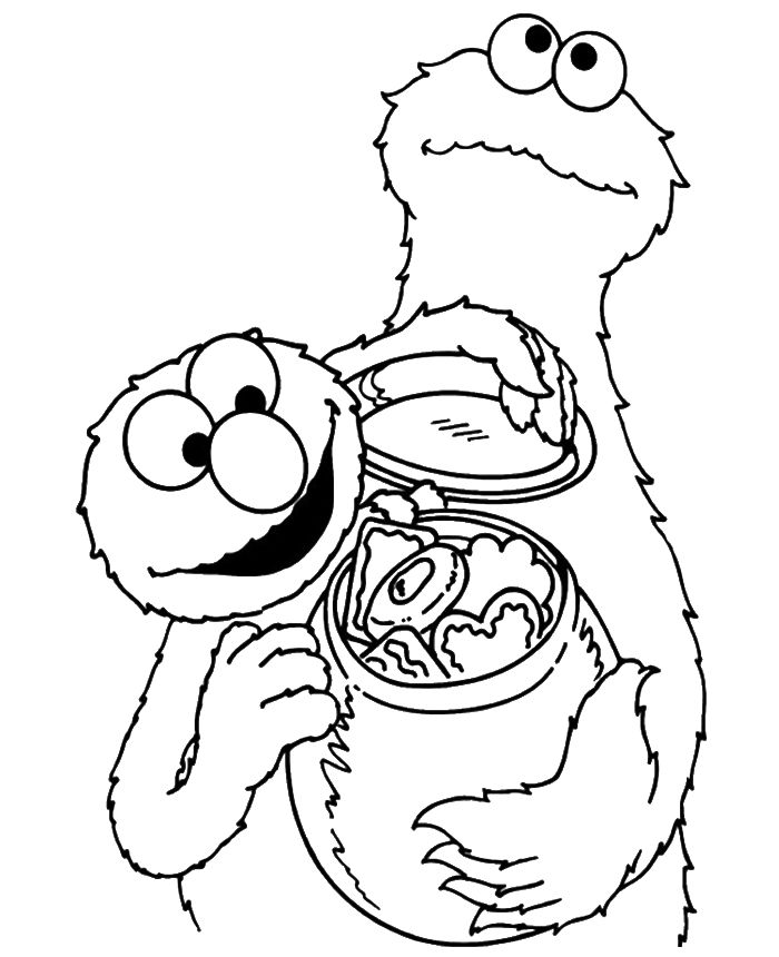 cookie monster share cookies coloring page cookie monster