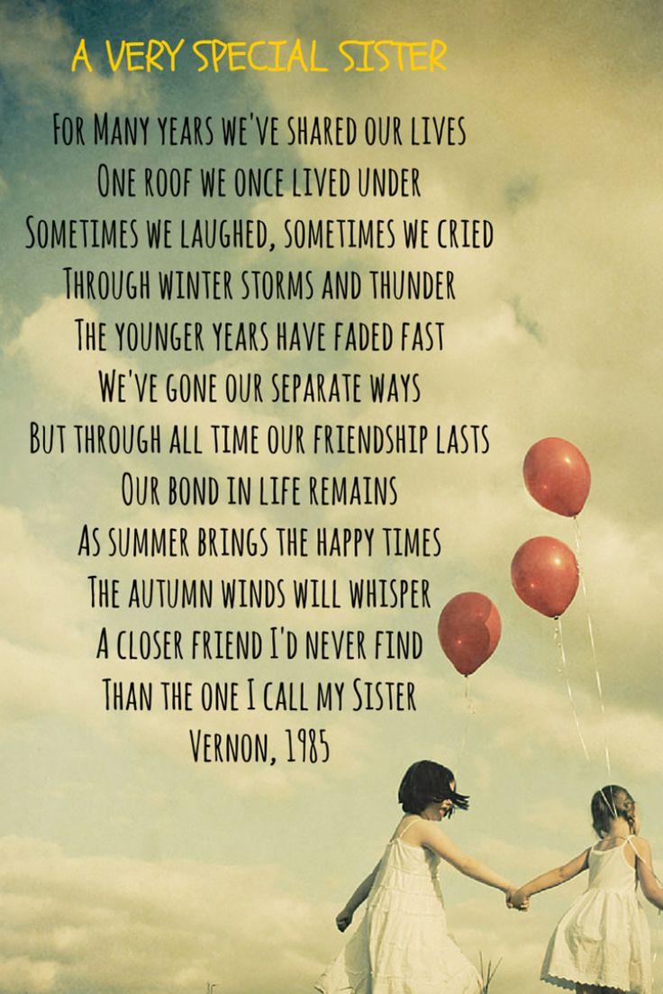 Gedicht für die beste Schwester auf Englisch