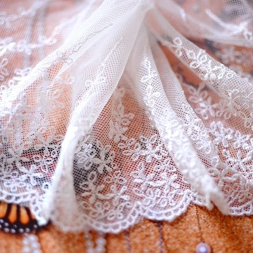 Milky Fin Blomster brodert blondere - Taobao