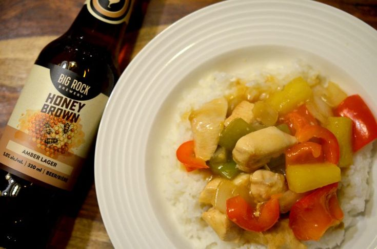 [ Sweet & Sour Chicken Recipe ]  Easy, quick and delicious weeknight meal. Plus, what's better than cooking with beer?#cookingwithbeer #easyrecipe #weeknight