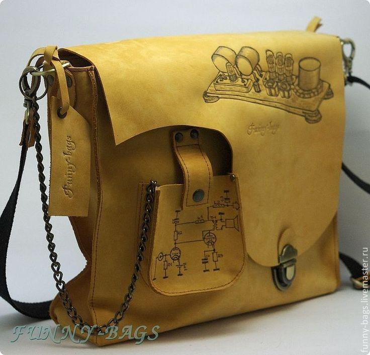 """Купить Мужская кожаная сумка """" Loftin-White"""" - желтый, рисунок, сумка"""
