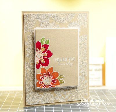 beautiful - white embossing on kraft with pops of colour: Embossing Cards, Cards Ideas, Cases Study, Bright Color, Kraft Paper, White Embossing, July Ebersol, Cards Inspiration, Challenges 131