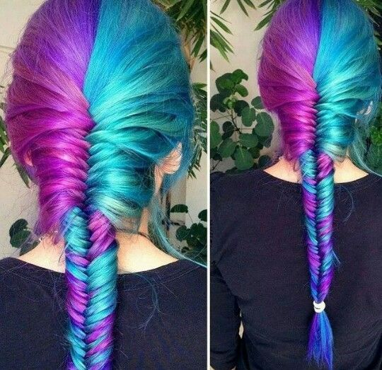 Purple turquoise fishtail braided dyed hair