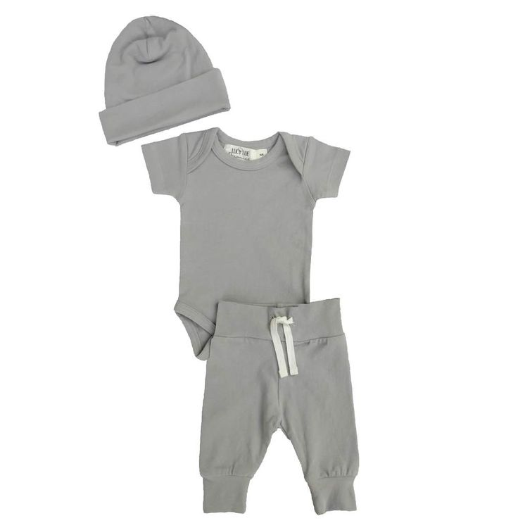 Organic Layette Bundle exclusively from Lucy Lue Organics. Three piece: Hat, Bodysuit, Basic Pant in Stone Grey. Newborn coming home outfit. Layette set. Baby boy clothes. Baby girl clothes. Baby essentials. Baby basics. Minimalist baby.  Modern baby. Baby products. Organic kids clothing. Baby Gift set. Organic baby. www.lucylueorganics.com