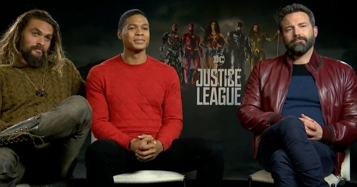 Justice League Jason Momoa, Ray Fisher and Ben Affleck WB Interview