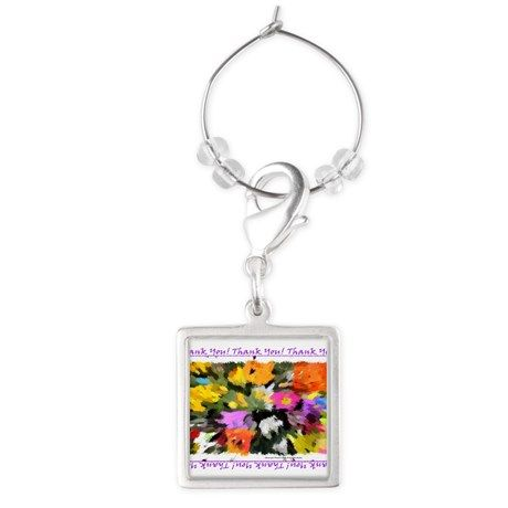 Thank You! in Purple Text Square Wine Glass Charm by Khoncepts