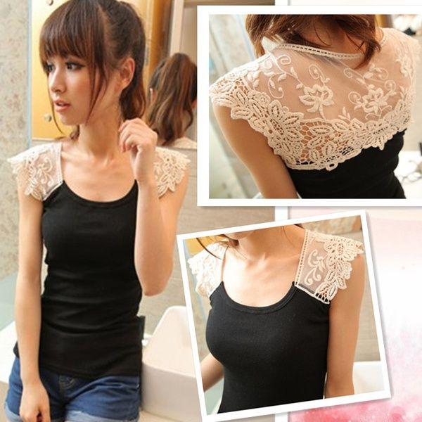 I found 'Hot-selling t-shirt slim female gauze lace decoration crochet fashion short-sleeve T-shirt Women's' on Wish, check it out!