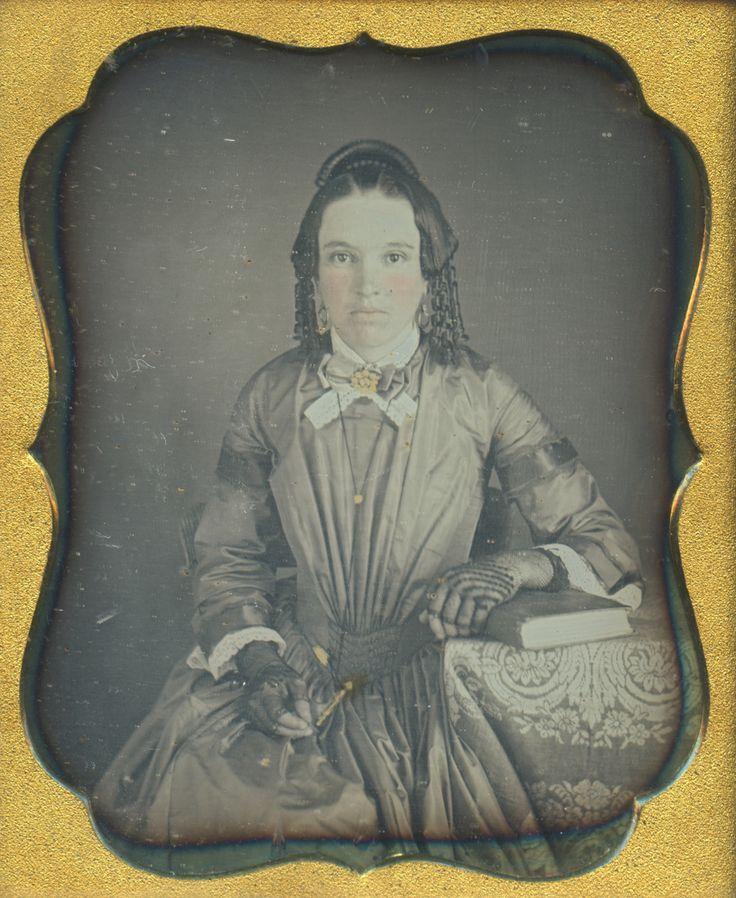 Vintage Daguerreotype Brunette Beauty Hair Ringlets Pencil Necklace 6th Photo | eBay