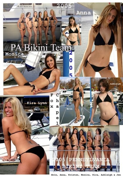 PA Bikini Team Poster from shoot at Fox Chapel Yacht Club in 2004: Picture-Black Posters, Team Posters