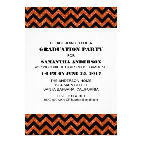 Orange Chevron Glitter Graduation Party Invite