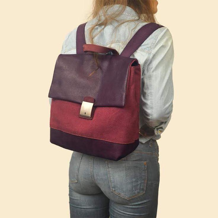Handmade backpack, cyclamen stonewashed canvas- leather ,named ORESTIS by iyiamihandbags on Etsy