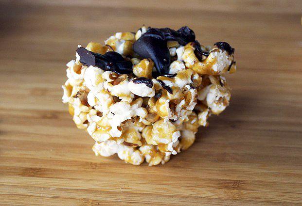 Carmel chocolate Popcorn Balls. salty-sweet, shut up