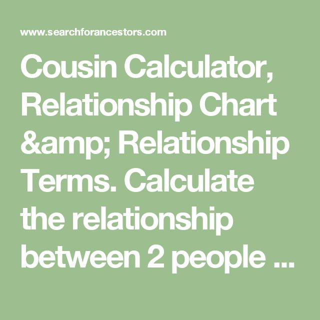 Cousin Calculator, Relationship Chart & Relationship Terms. Calculate the relationship between 2 people who share a common ancestor.