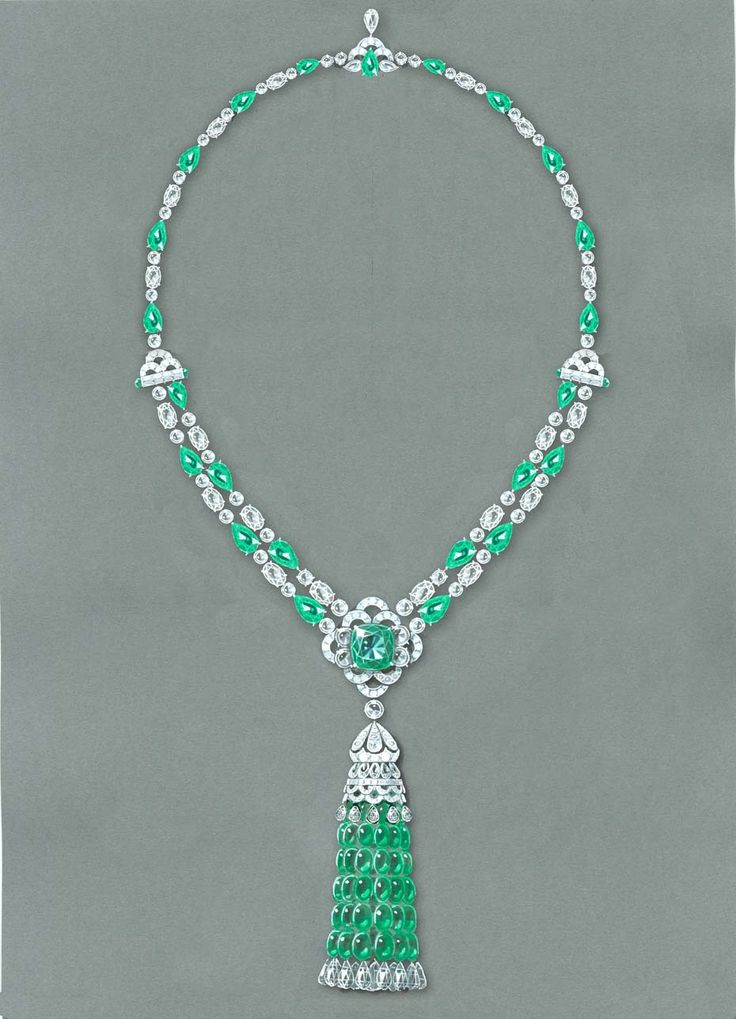 Graff's tassel necklace with emeralds and diamonds showcases its expertise in sourcing, cutting and setting gemstones.
