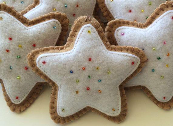 """4.5"""" Felt Cookie Star Ornament/white-Star Ornament-Star Felt Ornament-Star Cookie-Christmas Star Ornament-Cookie Ornament-Star Tree Ornament"""