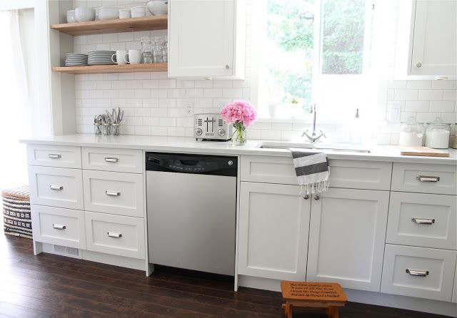 Cabinets Benjamin moore cloud white, subway tile from home depot, flextile grout in bone