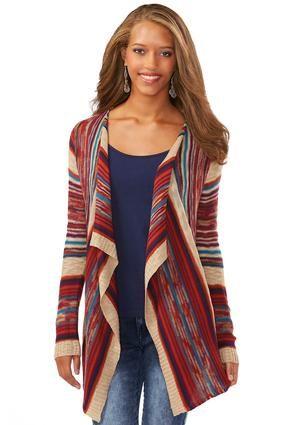 Cato Fashions Multi Striped Waterfall Cardigan Plus #CatoFashions